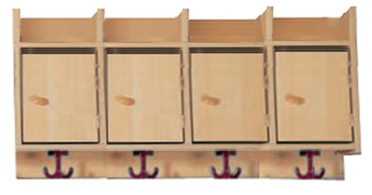 garderobenablage mit briefkasten für die elternpost, hakenleisten,