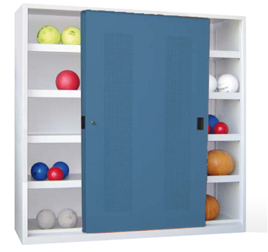 stahlschrank kaufen ballschrank mit schiebet ren sportger te modulschr nke ballschr nke. Black Bedroom Furniture Sets. Home Design Ideas