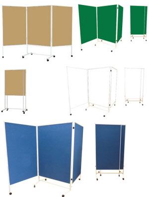 mobile stellw nde dreiteilig auf rollen stellw nde. Black Bedroom Furniture Sets. Home Design Ideas