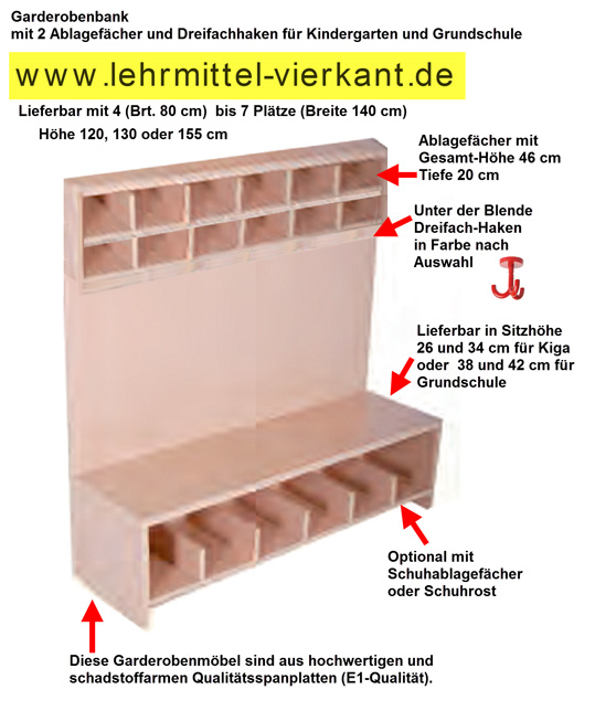 kindergarten sitzbank garderobenbank f r kinder. Black Bedroom Furniture Sets. Home Design Ideas