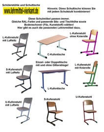 Schultisch maße  Schülereinzeltisch Typ L-Kufe Ovalrohrtisch, Schülertische ...