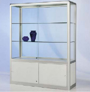 standvitrine mit unterschrank 1850 mm glas vitrinen vitrine vitrinen ausstellungsvitrinen. Black Bedroom Furniture Sets. Home Design Ideas