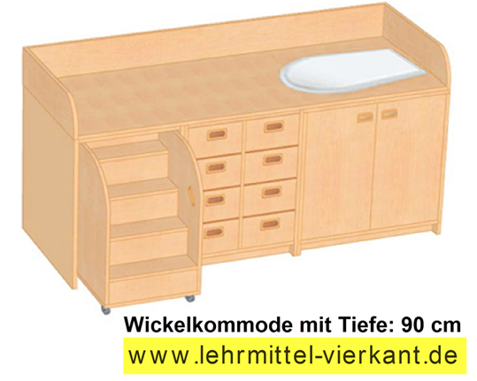 wickelkommode mit wanne undtreppe wickelkommode mit 90 cm. Black Bedroom Furniture Sets. Home Design Ideas