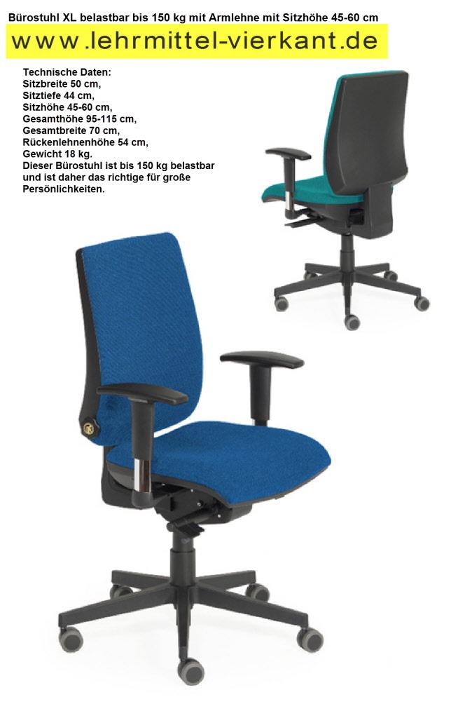 B rostuhl xl drehstuhl bis 150 kg b rodrehstuhl f r gro e menschen drehstuhl f r b ro - Schwingstuhl bis 150 kg ...