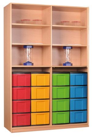 materialschrankregal mit modulboxen eigentumsschr nke offen f r schulen materialschrank offen. Black Bedroom Furniture Sets. Home Design Ideas